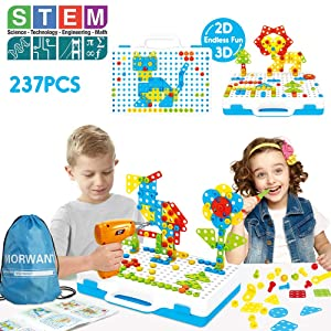 STEM Toys Kit, Arts and Crafts Building Block Gifts for Boys & Girls Age 3,4,5,6+ Year Old, Educational Construction Fine Motor Skills Toy with Drill, Creative Games and Fun Activity