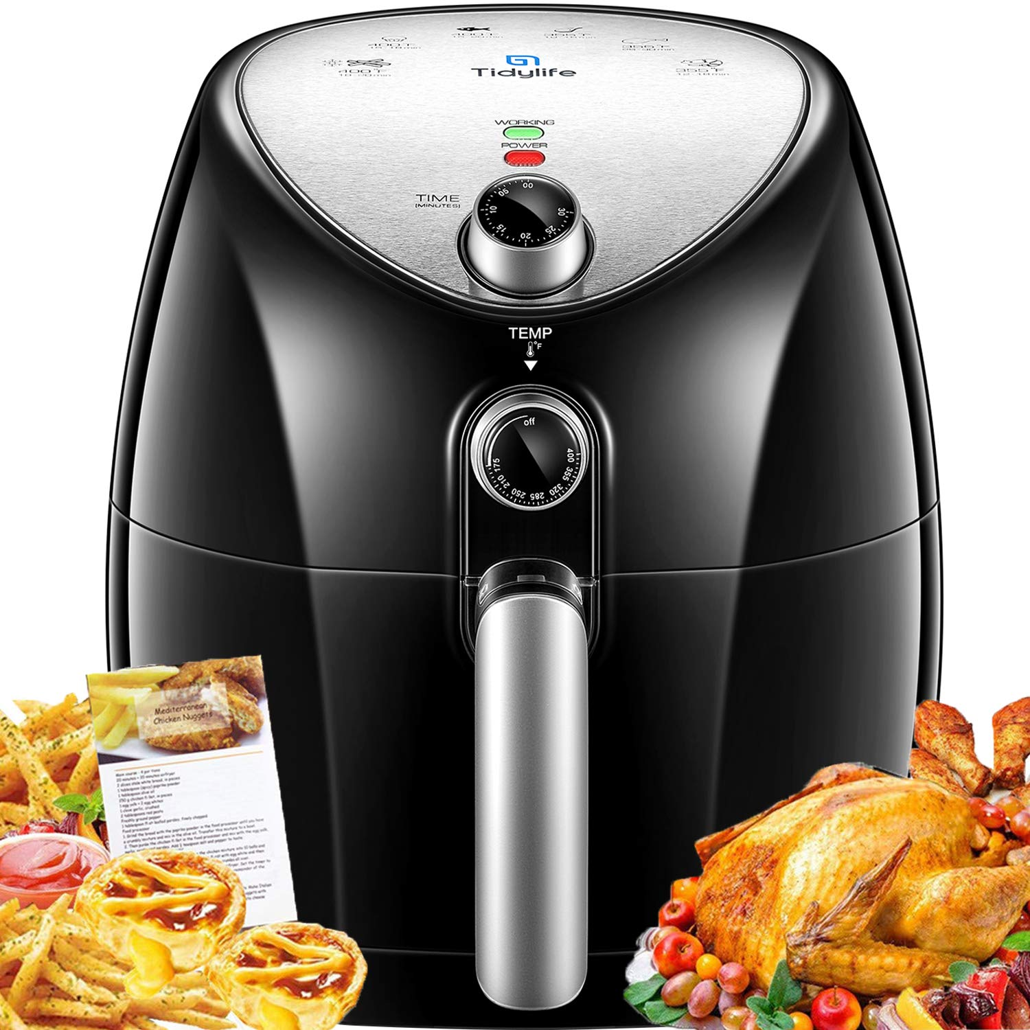 Air Fryer, Tidylife 4.5 Qt AirFryerXL with Smart Time & Temperature Control, 1500W Nonstick Basket HotAirFryer with 50+ Recipes