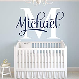 Personalized Name Wall Decal Nursery Wall Decor Art Home Kids Bedroom Wall Decor Name Wall Decals for Boys Girls Room Removable Vinyl Wall Stickers ND32 (18