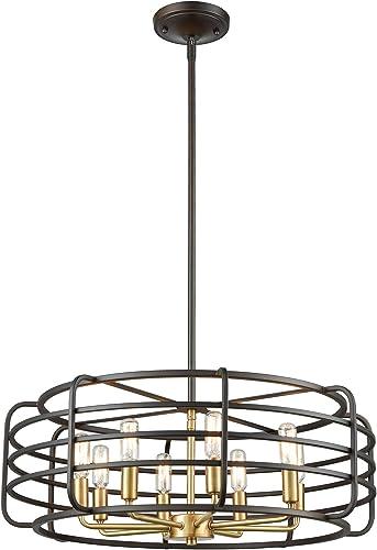 Elk Lighting 81316 8 Pendant Light, Oil Rubbed Bronze, Satin Brass