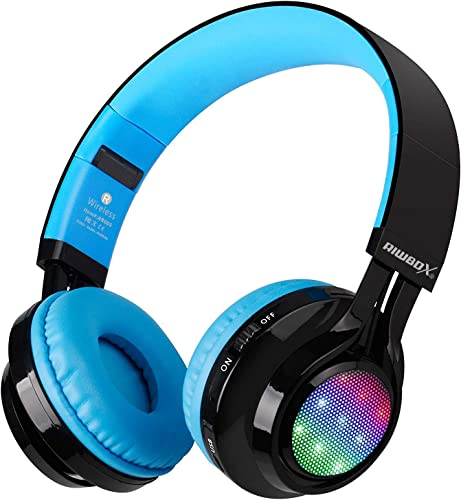 Bluetooth Headset, Riwbox AB005 Wireless Headphones 5.0 with Microphone Foldable Headphones with TF Card FM Radio and LED Light for Cellphones and All Bluetooth Enabled Devices Black Blue