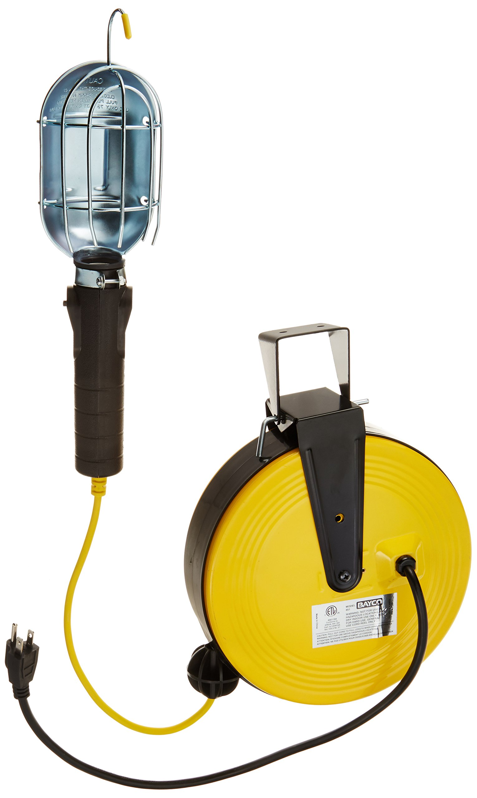 Bayco SL-851 Professional Series Metal Shield Incandescent Utility Light on 50 Foot Metal Reel by Bayco
