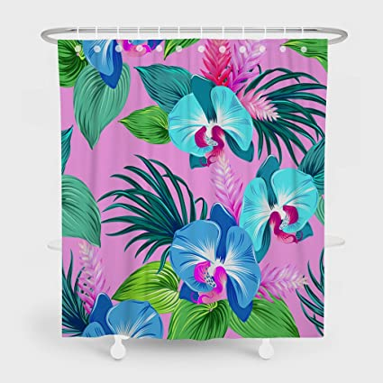 Asoco Shower CurtainOrchids Fluorescent Pink Aqu Bright Green Leaves Palms Ginger Flowers Pattern Bathroom