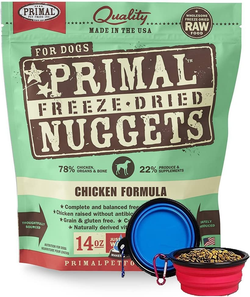 Primal Pet Food - Freeze Dried Dog Food 14-Ounce Bag with YHS Pet Food Bowl - Made in USA