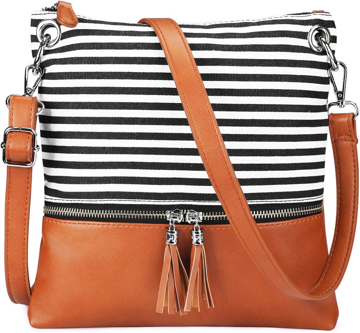 Newshows Women Lightweight Medium Canvas PU Leather Crossbody Bag with Tassel B-Black