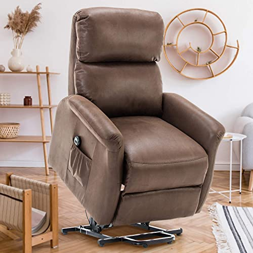 GOOD GRACIOUS Lift Chair,Electric Power Recliner with Remote Control for Elderly,Heavy Duty and Soft Fabric Sofa for Living Room,3 Position,Brown