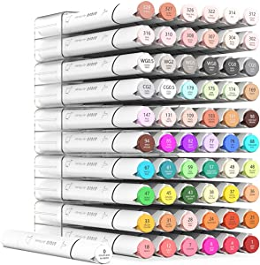 60 colors Alcohol Markers, Fine Chisel Dual Tipped Artist Sketch Markers for Sketching for Adult. 1 colorless blender and Highlighter Bonus Gift