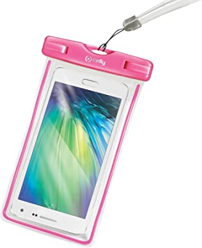 Celly Bag - Funda resistente al agua para smartphones, color rosa: Amazon.es: Electrónica