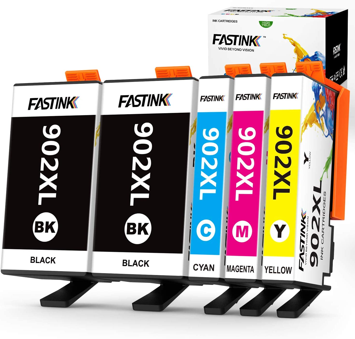 FASTINK Compatible HP Ink Cartridges Replacement for HP 902 XL 902XL with Upgraded Chips for OfficeJet Pro 6954 6960 6962 6968 6978 Printers,5 Packs, (2 Black, 1 Cyan, 1 megenta, 1 Yellow)