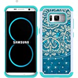 S8 Plus Case, MagicSky [Shock Absorption] Studded Rhinestone Bling Hybrid Dual Layer Armor Defender Protective Case Cover For Samsung Galaxy S8 Plus(Flower2)