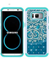 S8 Case, MagicSky [Shock Absorption] Studded Rhinestone Bling Hybrid Dual Layer Armor Defender Protective Case Cover For Samsung Galaxy S8(Flower2)