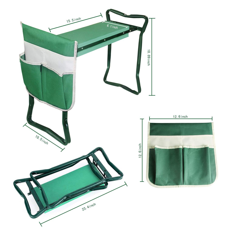 ARyee Garden Kneeler Seat Garden Bench Garden Stools Foldable Stool with Pouch EVA Foam Pad Outdoor Portable Kneeler for Gardening,23.4 x 10.5 x 18.9,Green
