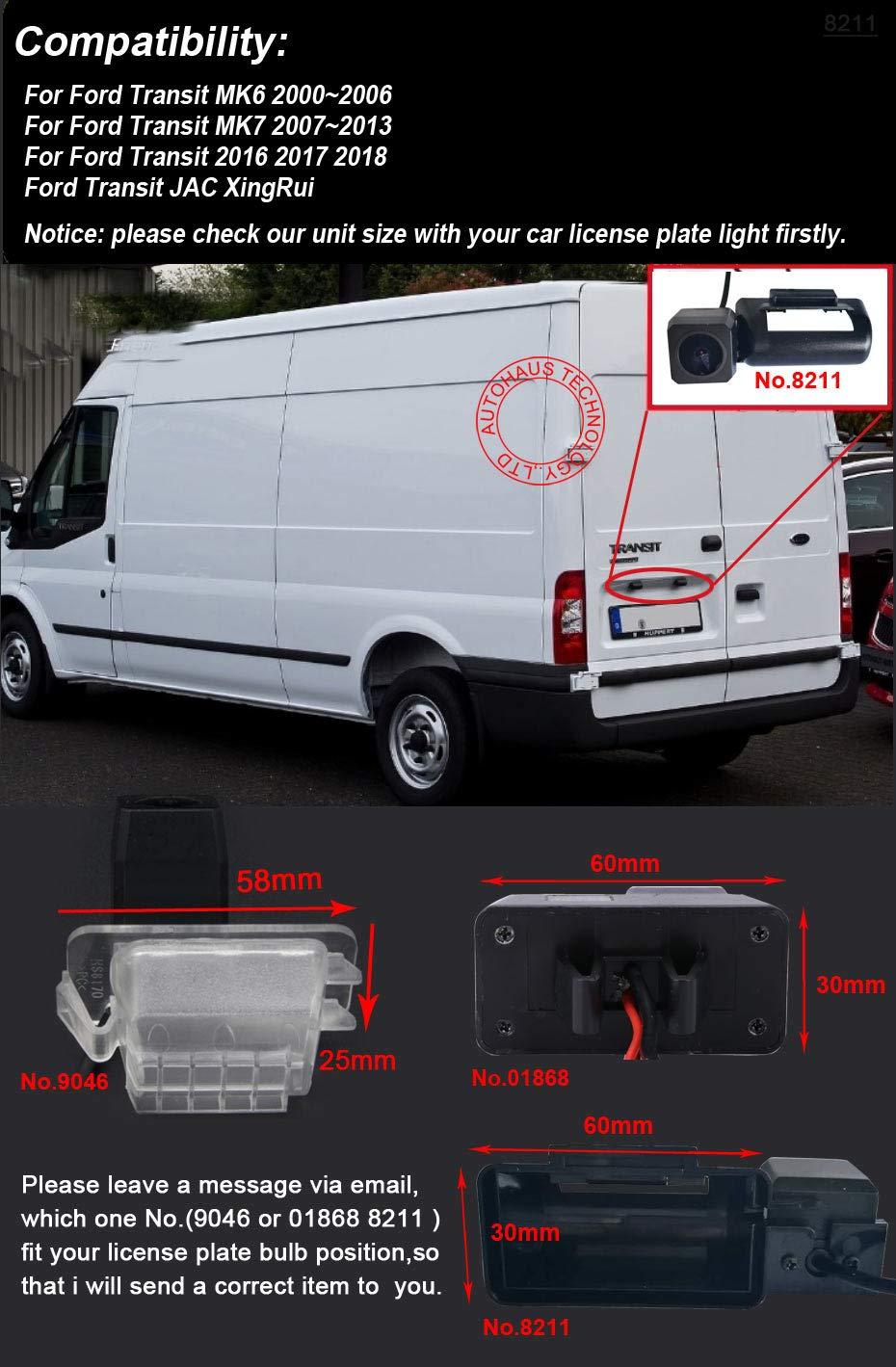 Dynavsal HD CCD Cam/éra de Recul Voiture en Couleur Kit Cam/éra Vue arri/ère de Voiture Imperm/éable IP67 avec Large Vision Nocturne pour Ford Transit MK6 MK7 JAC