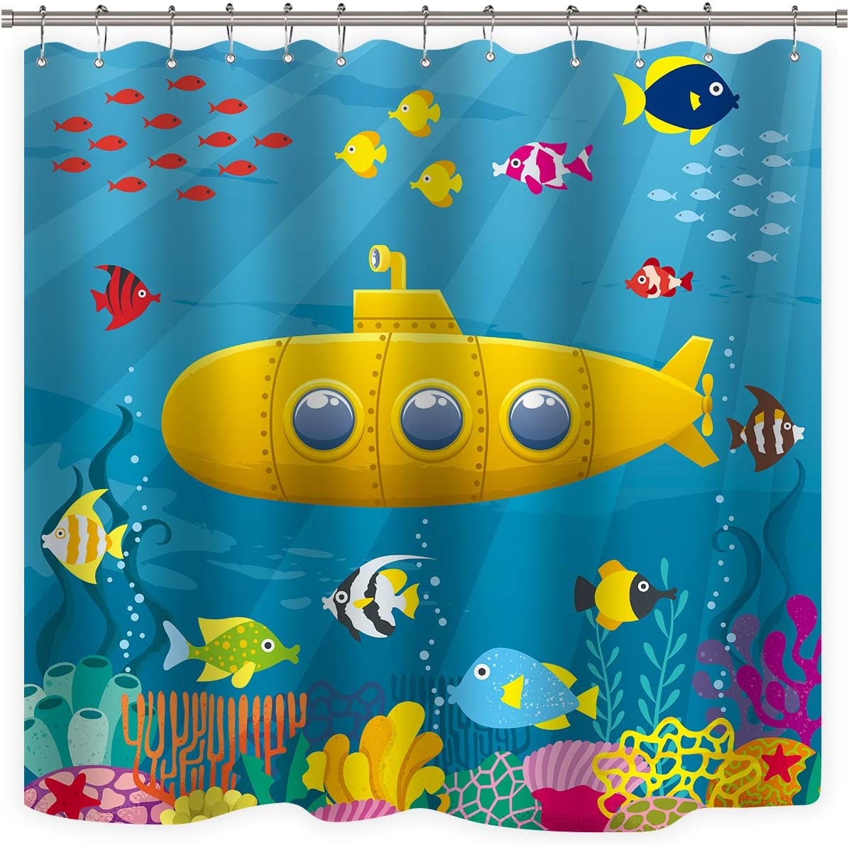 Riyidecor Kids Shower Curtain Marine Underwater Ocean Fish Coral Yellow Submarine Colorful Decor Fabric Bathroom 72Wx72H Inch 12 Pack Plastic Shower Hooks Included