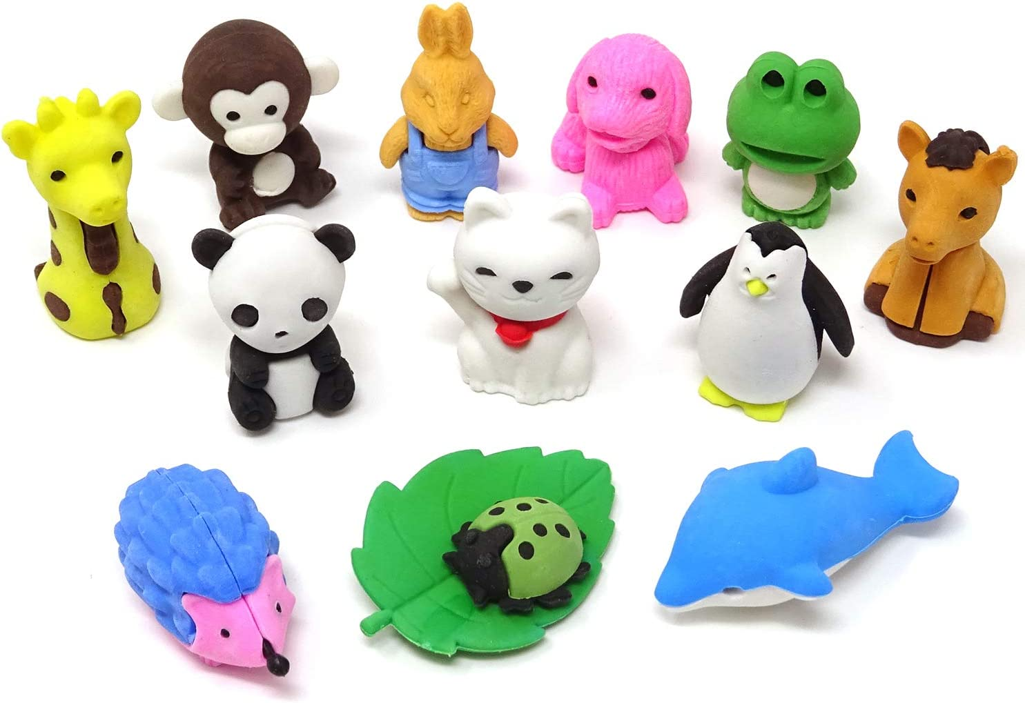 HONBAY 12PCS 3D Zoo Animal Pencil Erasers for Home Office and School Color Random