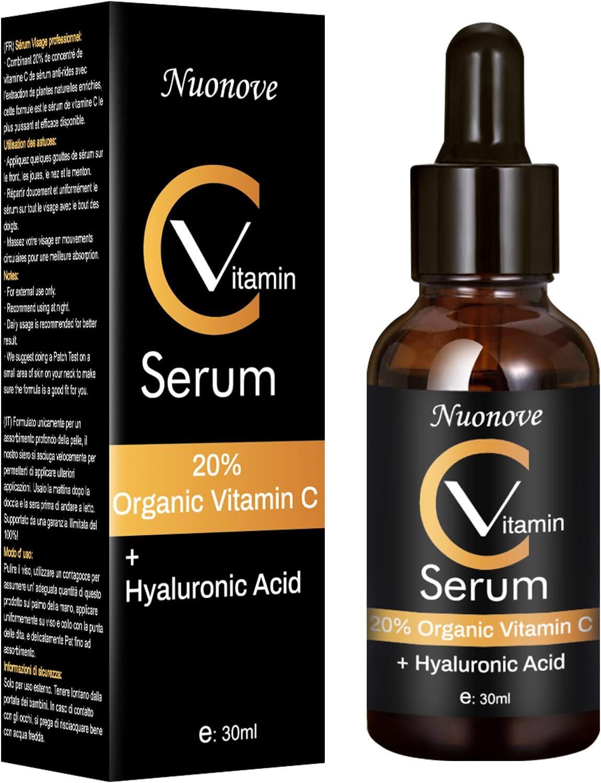 Serum Vitamina C,Acido Hialuronico Serum,Serum Facial Vitamina C y ácido hialurónico,Concentrado Antiedad Antiarrugas,efecto antiarrugas y antiedad,Efecto Antiarrugas, Antiedad y Antimanchas,30ml