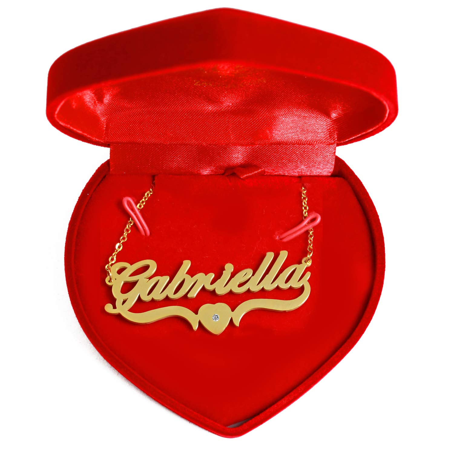 Heart Shaped Personalized Custom Name Necklace 18ct Gold Plated Kigu Gabriella