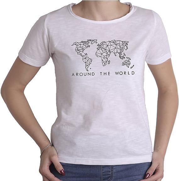 Vestin Around The World - Camiseta para Mujer, Cuello Redondo, Corte Vivo, 100% algodón Peinado, Fabricada en Italia Bianco M: Amazon.es: Ropa y accesorios