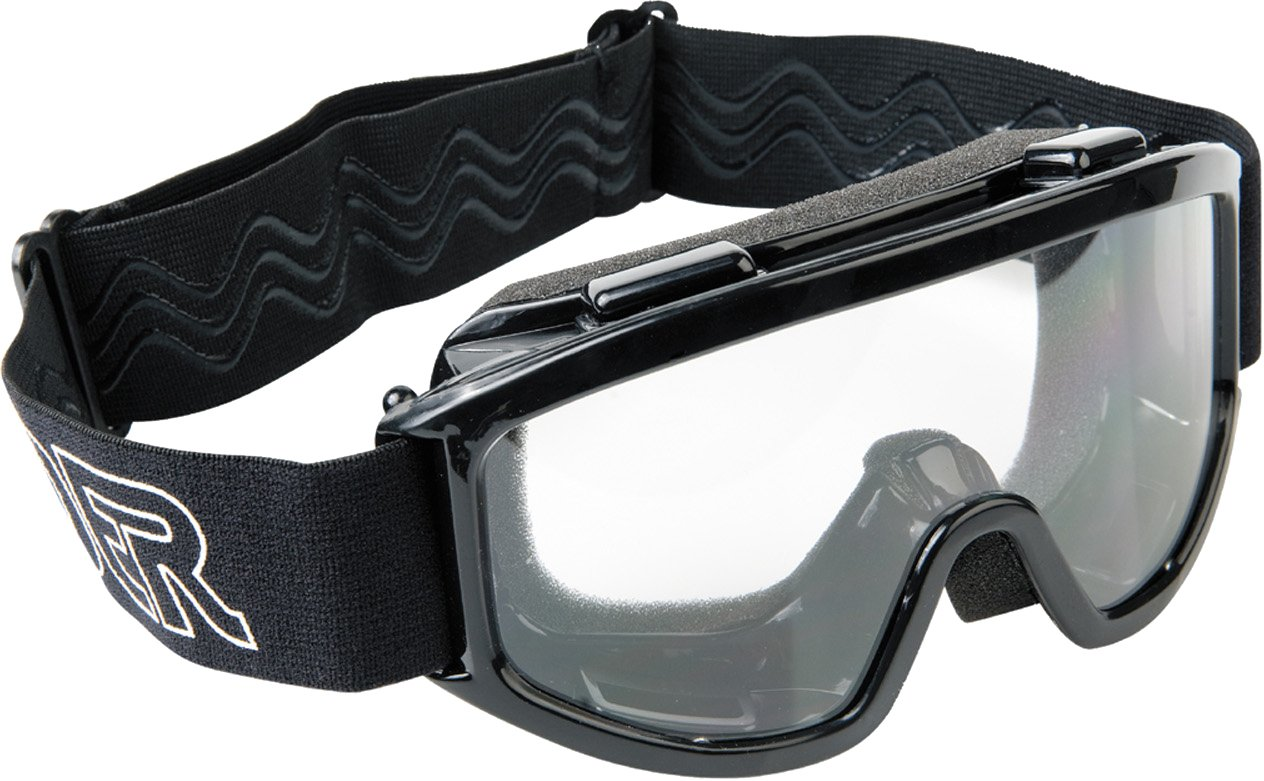 Raider 26-010 Single Lens Youth MX Off-Road Goggles, Black Frame/Clear Lens by Raider