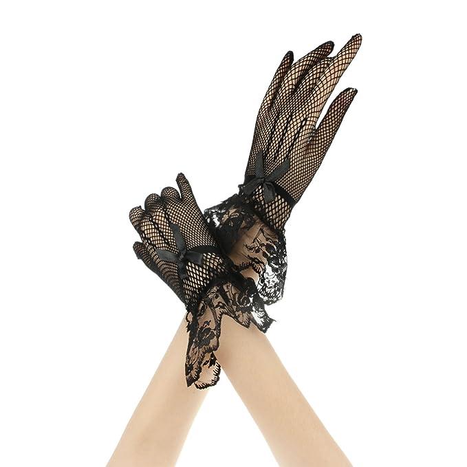 6274bcfdead0 FakeFace Brauthandschuhe Fingerspitzen Handgelenk-Länge Handschuhe  Brautaccessoires Spitze Fischnetz Party Abendhandschuhe für Frühling Sommer  Herbst