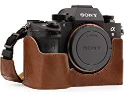 MegaGear Ever Ready Genuine Leather Camera Half Case Compatible with Sony Alpha A7 III, A7R III, A9