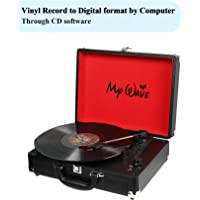 MyWave Portable Suitcase Stereo Turntable with Built-in Stereo Speakers (Black)