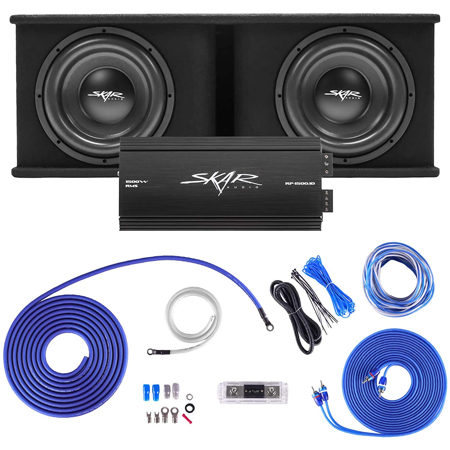 """1. Skar Audio Dual 12"""" Complete 2,400 Watt SDR Series Subwoofer Bass Package - Includes Loaded Enclosure with Amplifier"""