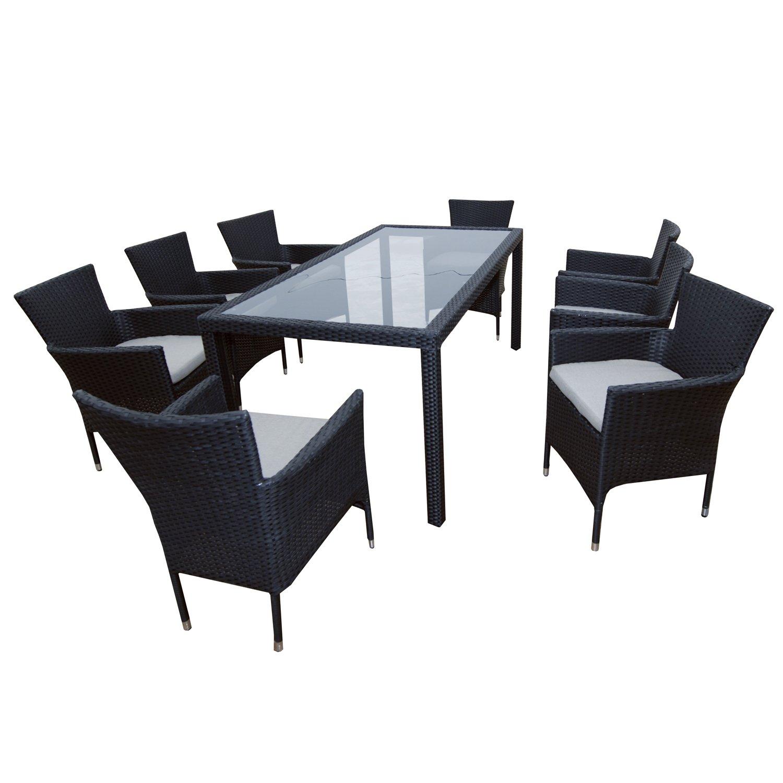 ambientehome polyrattan sitzgruppe essgruppe sessel stapelbar meluco schwarz tisch 180 x90 cm. Black Bedroom Furniture Sets. Home Design Ideas