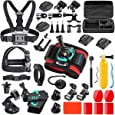 SmilePowo 42-in-1 Accessorries Kit for Hero 9 8 Max 7 6 5 4 3 3+ 2 1 Black Session Fusion Insta360 DJI AKASO APEMAN YI Campark XIAOMI Action Camera Accessories Kit(Carrying Case/Chest Strap)