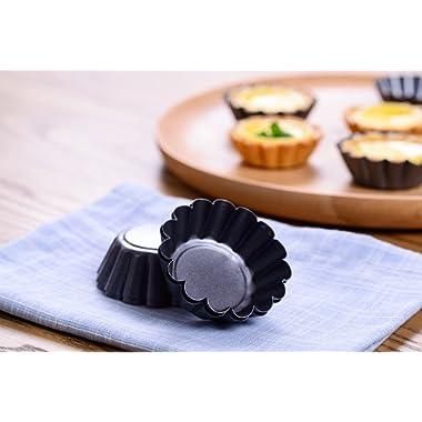 Bakerdream Mini Round Nonstick Tart Pan, Tartlet Mold, Egg Tart Tin, Muffin Cake Mould Set of 12