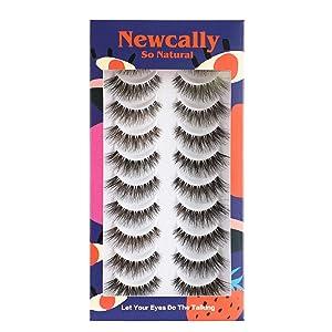 Newcally False Eyelashes Natural Soft Light Volume 10 Pairs Multipack