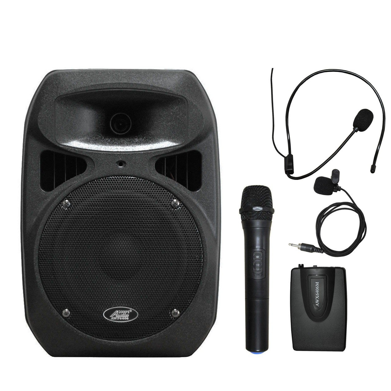 Audio 2000s AWP6408L 50W 8'' Dual Channel Wireless Microphone Portable PA System with Handheld, Headset & Lapel Mics