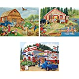 Bits and Pieces Set of Three (3) 300 Piece Jigsaw Puzzles for Adults - Americana Collection - 300 pc Jigsaws by Artist Kay Lamb Shannon