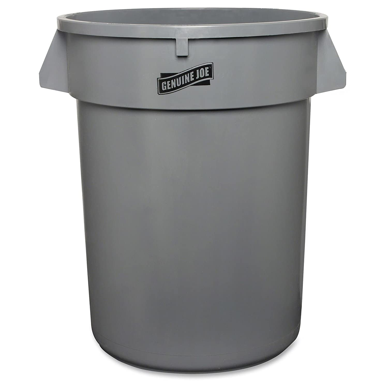 Genuine Joe GJO60463 Plastic Heavy-Duty Trash Container, 32 Gallon Capacity, Gray