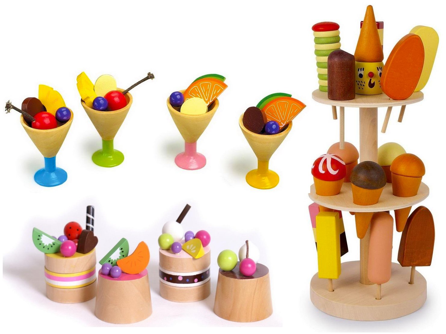 Wooden Childrens Play Food Set - Ice Cream, Lolly Stand and Fruit Cakes Tarts HHL