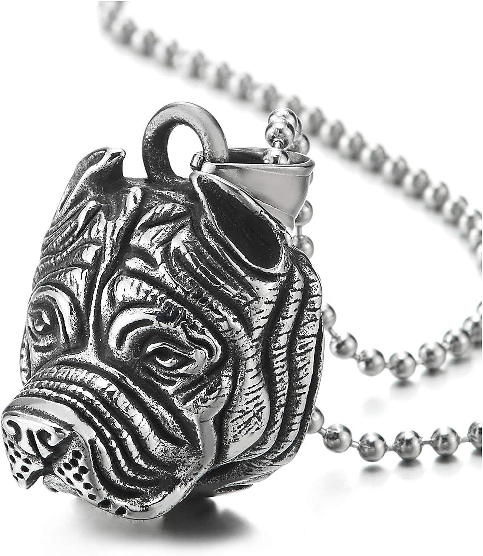 COOLSTEELANDBEYOND Vintage Bulldog Pitbull Cabeza Colgante, Collar de Hombre Mujer, Acero Inoxidable, Bola Cadena 75CM