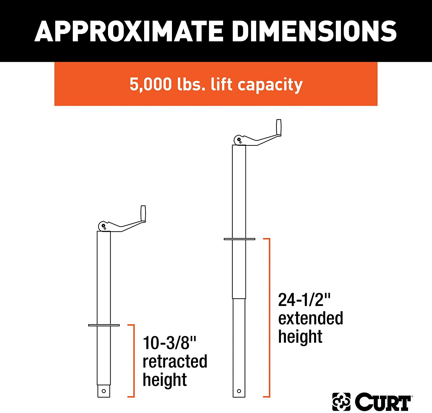 CURT 28250 A-Frame Trailer Jack, 5,000 lbs, 14-1/8 Inches Vertical Travel: Automotive