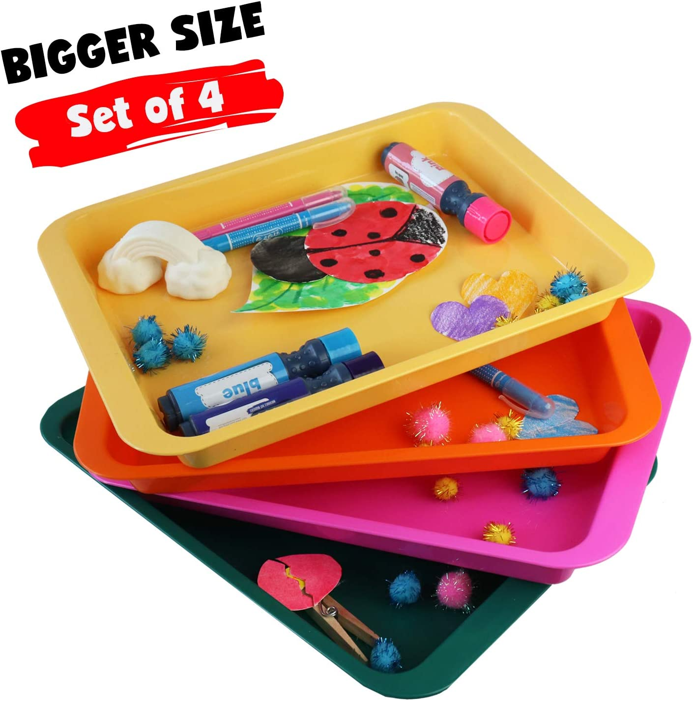 Activity Plastic Tray - Art + Crafts Organizer Tray, Serving Tray, Great for Crafts, Beads, Orbeez Water Beads, Painting (Set of 4 Colors - Pink, Yellow, Green, Orange)