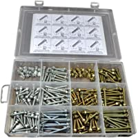TheCoolio 180 pcs of Assorted Flat Head Slotted/Phillips Machine Screws with Washers and Nuts