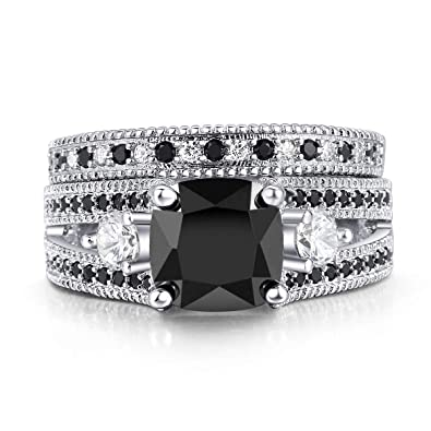 9fa4d2451b Double Fair White or Black Gold Plated Cushion Cut Black CZ Stone Engagement  Promise Anniversary Ring