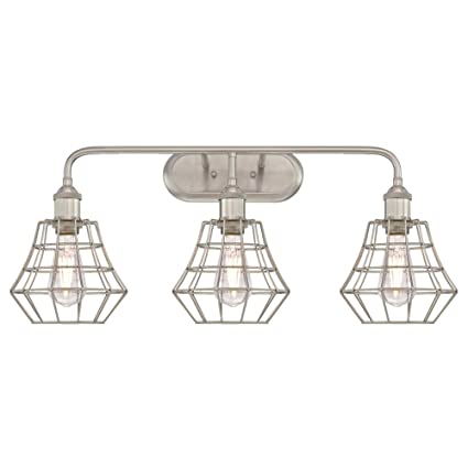 Westinghouse 6336800 nathaniel three light indoor wall fixture brushed nickel finish with angled bell