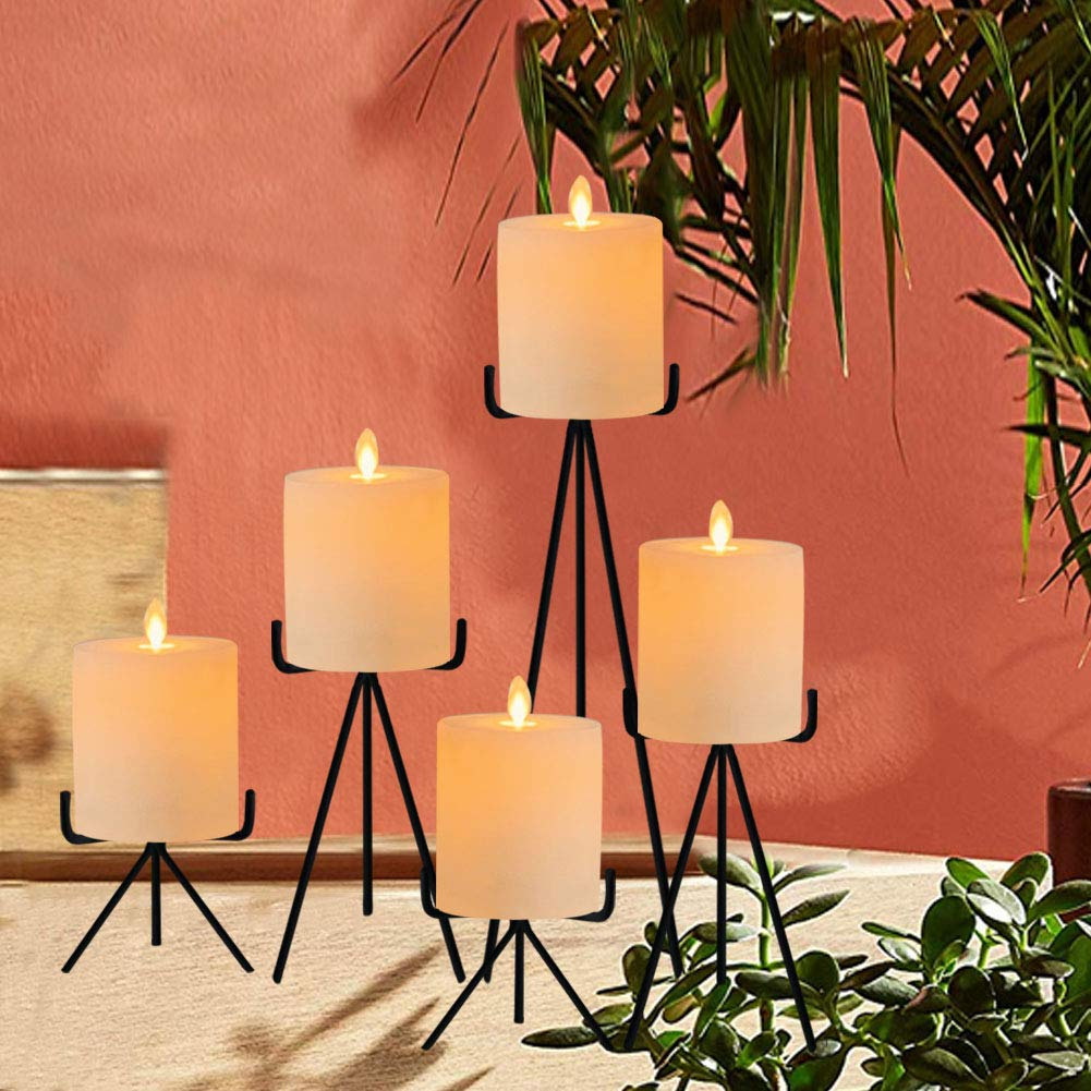 smtyle Candle Holders Set of 5 Candelabra with Black Iron-3.5 Diameter Ideal for Pillar LED Candles CRZM SJCa-holder-5