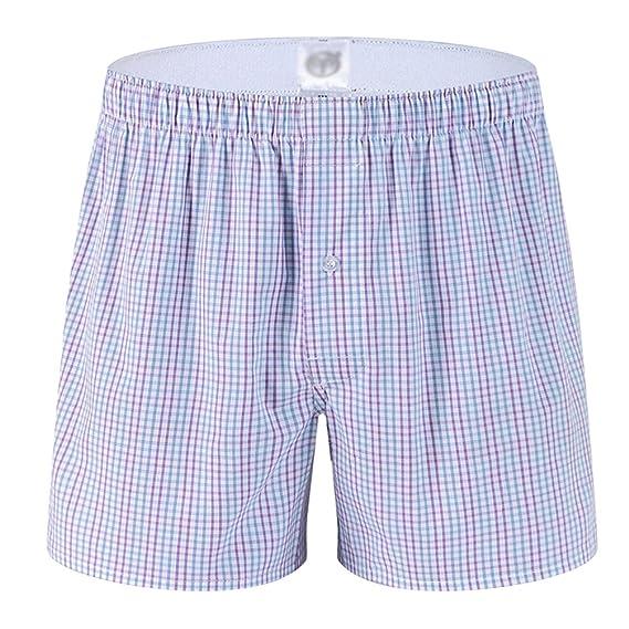 Yuanu Hombre Pantalones de Pijama Algodón Pantalones de Pijama Rayas Shorts Ropa de Dormir G1 M
