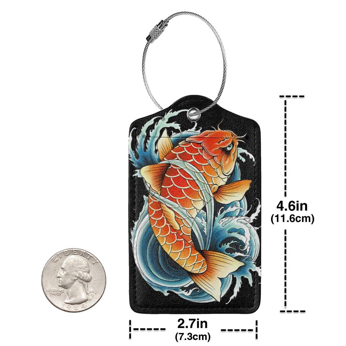 Asian Carp Painting Travel Luggage Tags With Full Privacy Cover Leather Case And Stainless Steel Loop
