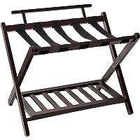 WELLAND Wood Folding Luggage Rack With Shelf