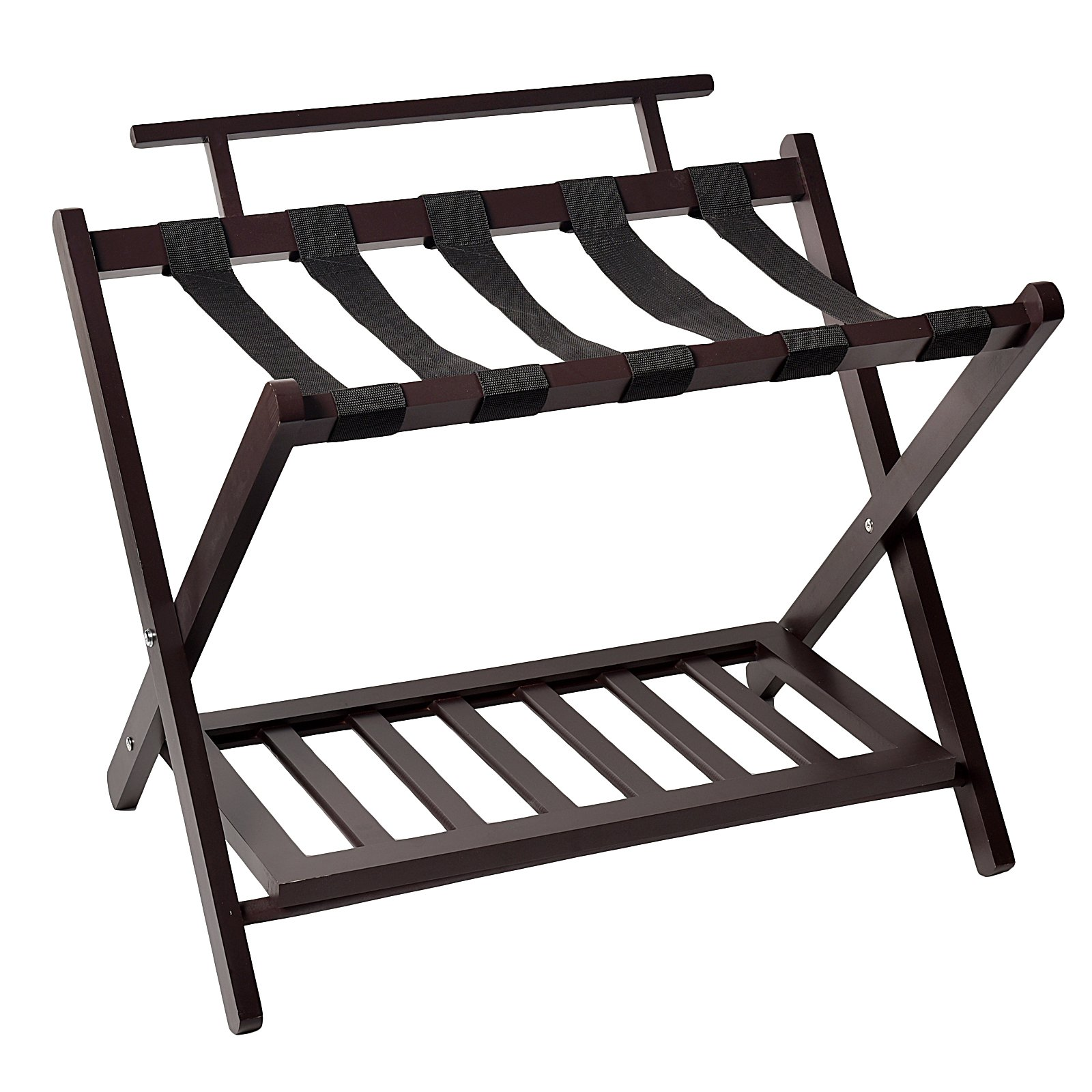 WELLAND Wood Wall Saver Folding Luggage Rack With Shelf,Espresso