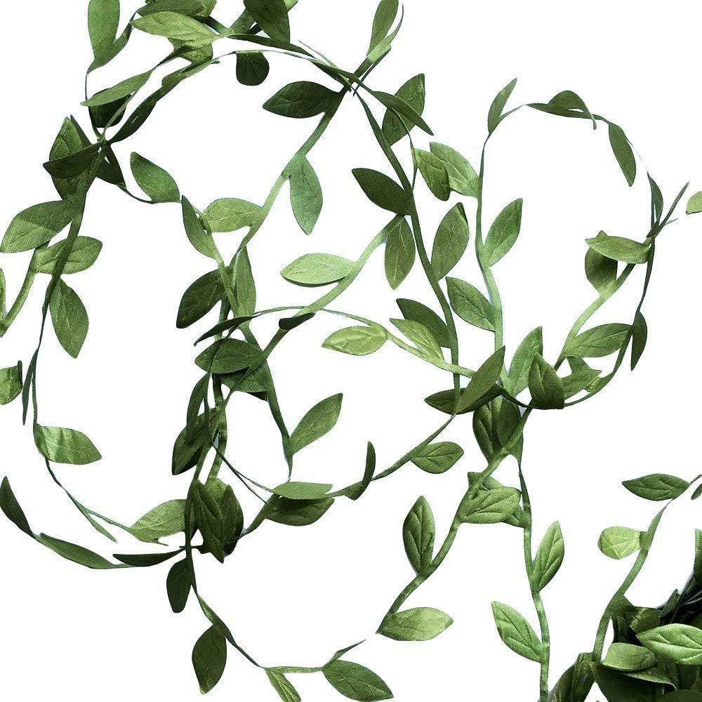 Hecaty 132 ft Olive Green Leaves Leaf Trim Ribbon for DIY Craft Party Wedding Home Decoration (Large Leaf 132ft)