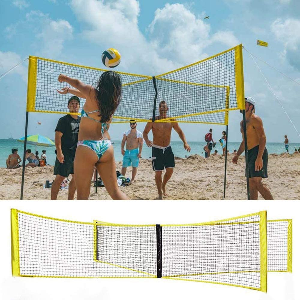Amazon Com Four Sided Cross Volleyball Net Pe Durable Cross Volley Ball Training Net Portable Outdoor Indoor Volleyball Net Beach Volleyball Standard Net Without A Rod 100x30cm Sports Outdoors