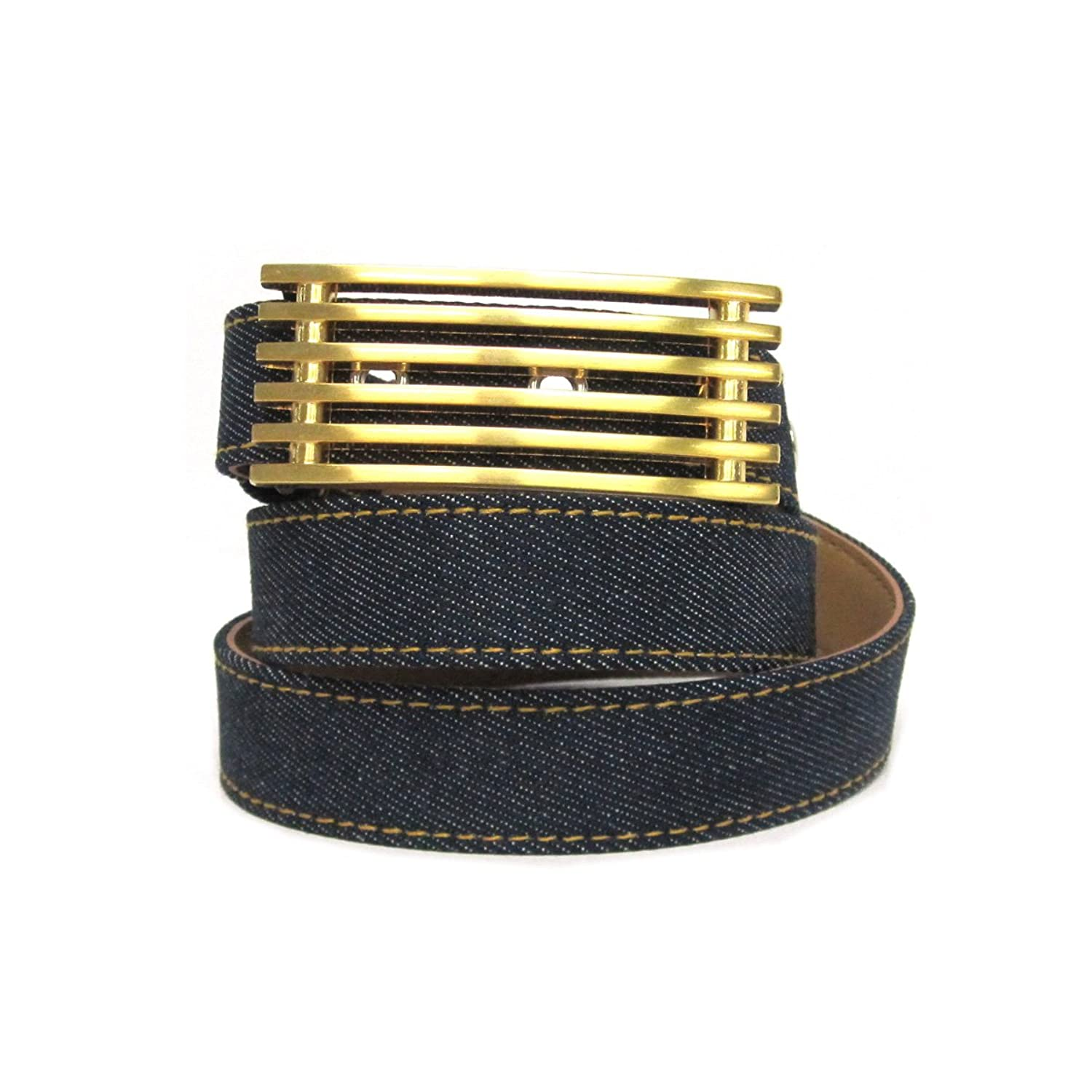"1"" Women's Rectangular Ribbed Pattern Gold Buckle on Quality Denim Leatherett..."
