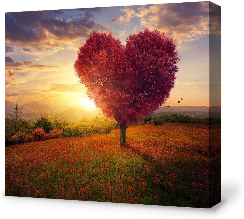 SIGNFORD Canvas Wall Art for Living Room,Bedroom Home Artwork Paintings Heart Tree Ready to Hang - 12x12 inches